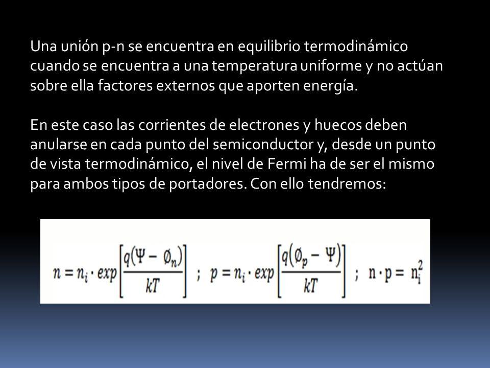 Una unión p-n se encuentra en equilibrio termodinámico cuando se encuentra a una temperatura uniforme y no actúan sobre ella factores externos que aporten energía.