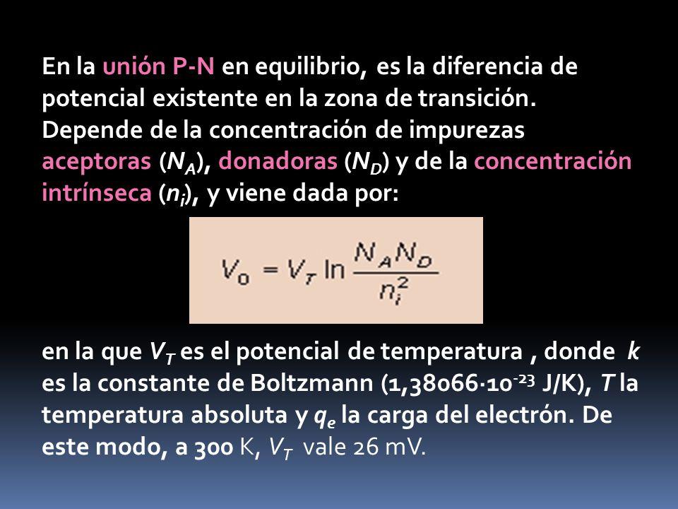 En la unión P-N en equilibrio, es la diferencia de potencial existente en la zona de transición. Depende de la concentración de impurezas aceptoras (NA), donadoras (ND) y de la concentración intrínseca (ni), y viene dada por: