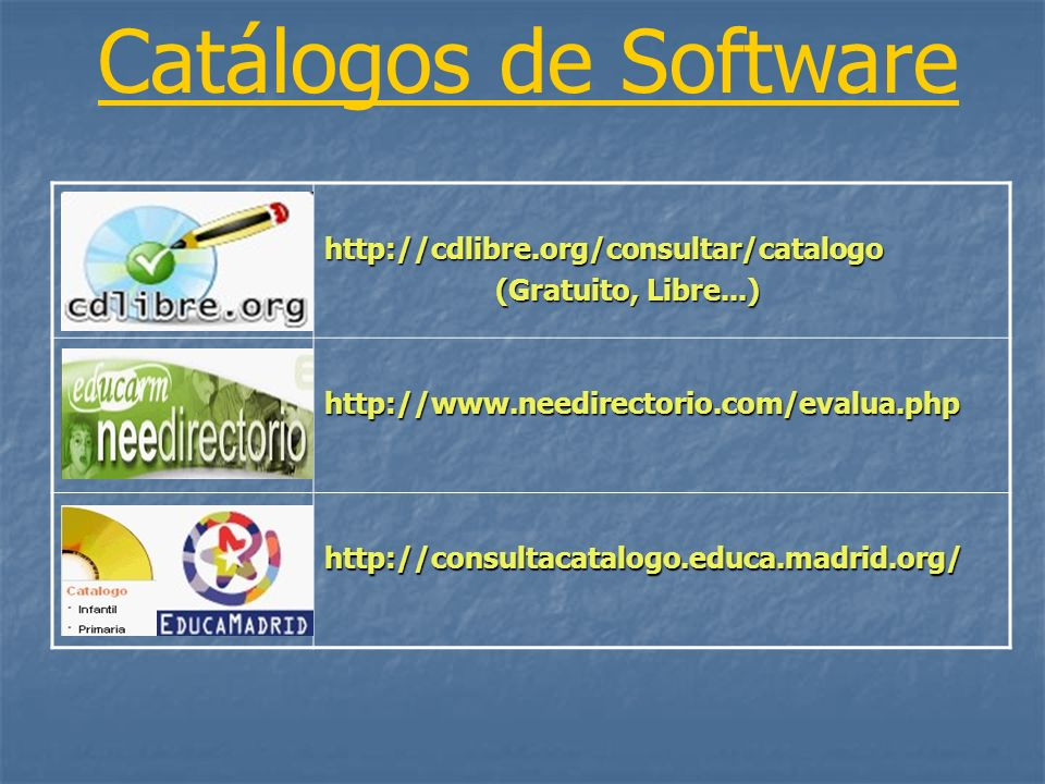 Catálogos de Software http://cdlibre.org/consultar/catalogo