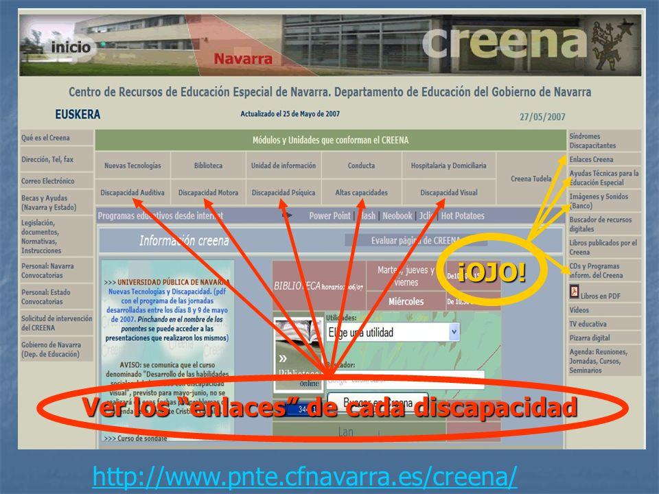¡OJO! Ver los enlaces de cada discapacidad http://www.pnte.cfnavarra.es/creena/