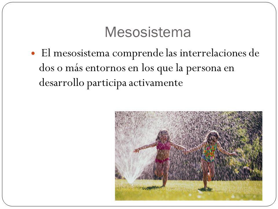 Mesosistema El mesosistema comprende las interrelaciones de dos o más entornos en los que la persona en desarrollo participa activamente