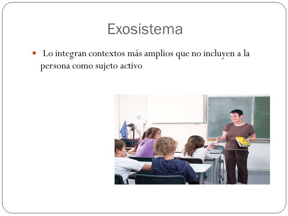 Exosistema Lo integran contextos más amplios que no incluyen a la persona como sujeto activo