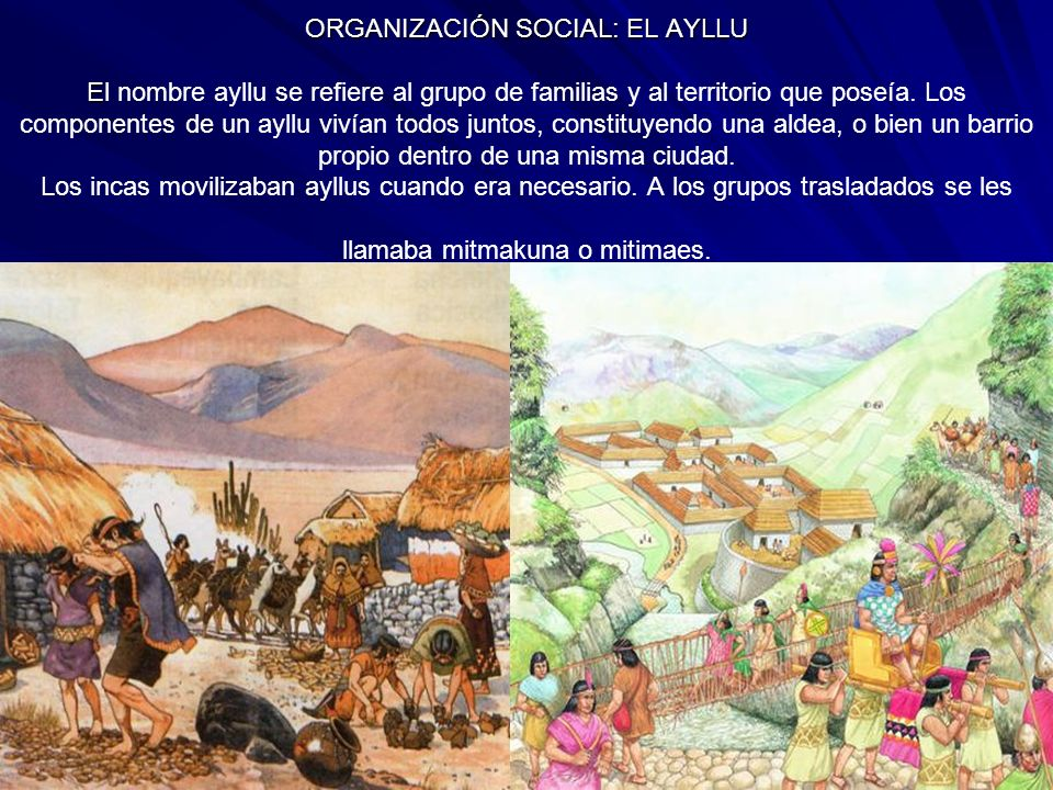 ORGANIZACIÓN SOCIAL: EL AYLLU El nombre ayllu se refiere al grupo de familias y al territorio que poseía.