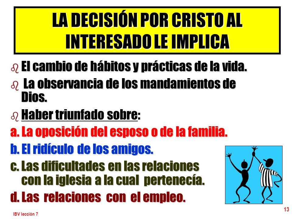 LA DECISIÓN POR CRISTO AL INTERESADO LE IMPLICA