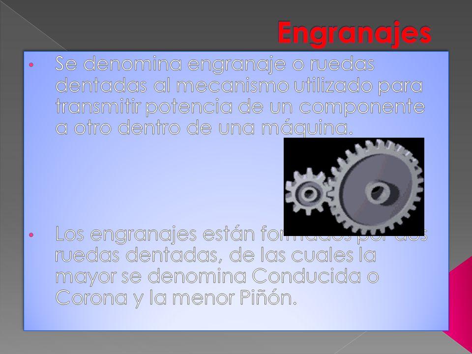 Engranajes Se denomina engranaje o ruedas dentadas al mecanismo utilizado para transmitir potencia de un componente a otro dentro de una máquina.