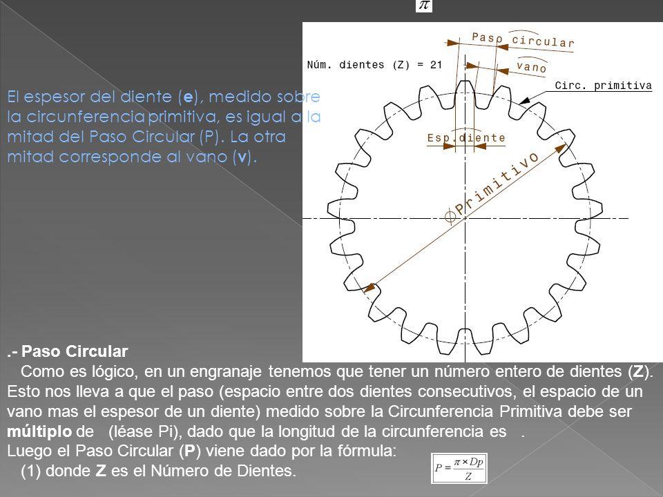 El espesor del diente (e), medido sobre la circunferencia primitiva, es igual a la mitad del Paso Circular (P). La otra mitad corresponde al vano (v).