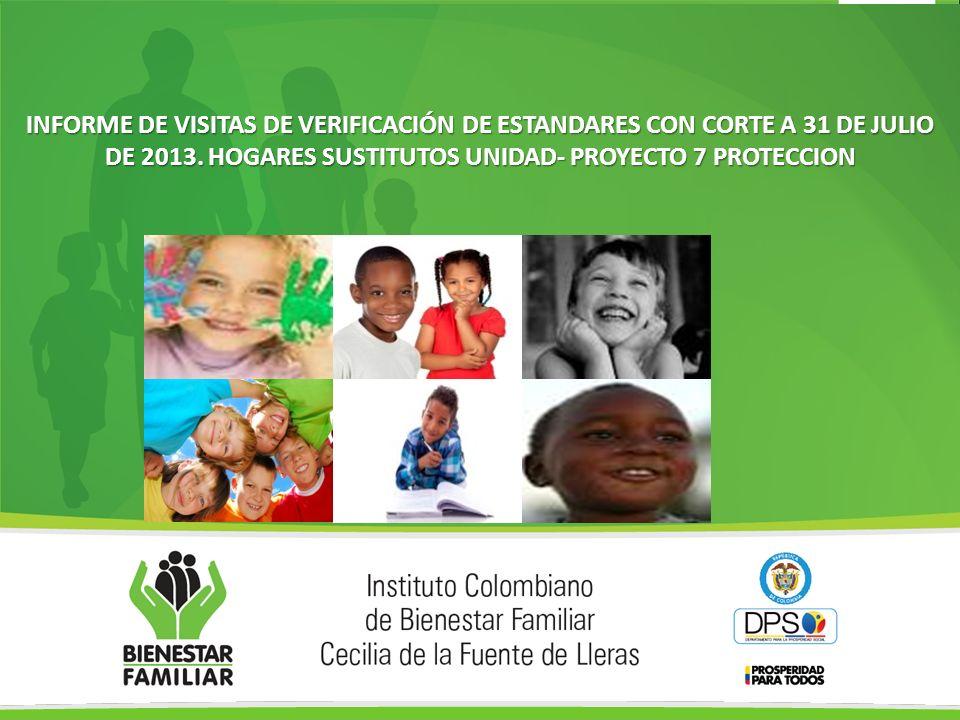 INFORME DE VISITAS DE VERIFICACIÓN DE ESTANDARES CON CORTE A 31 DE JULIO DE 2013.