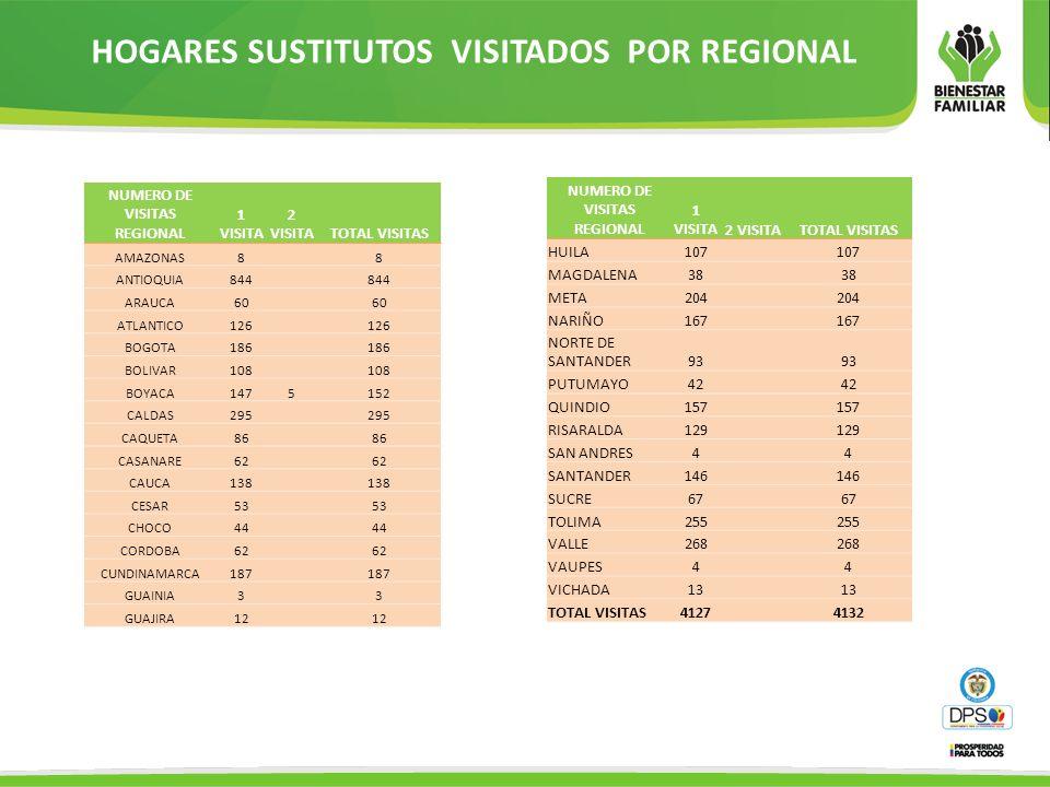 HOGARES SUSTITUTOS VISITADOS POR REGIONAL