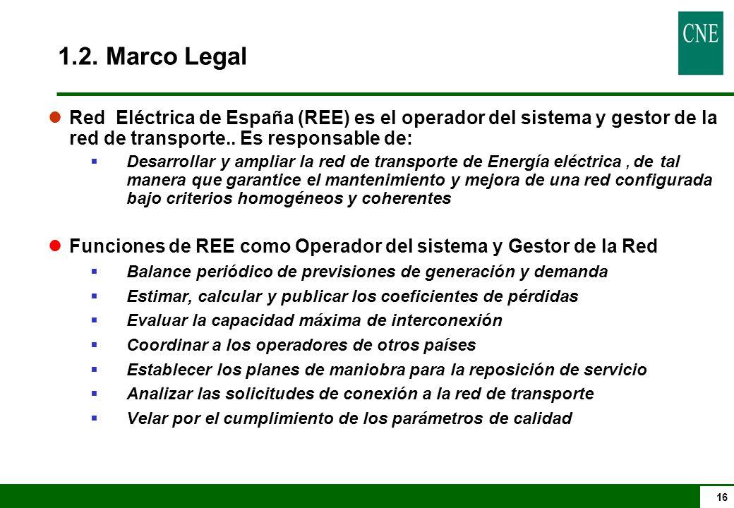 1.2. Marco Legal Red Eléctrica de España (REE) es el operador del sistema y gestor de la red de transporte.. Es responsable de: