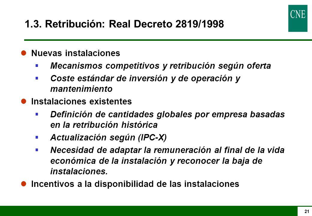 1.3. Retribución: Real Decreto 2819/1998