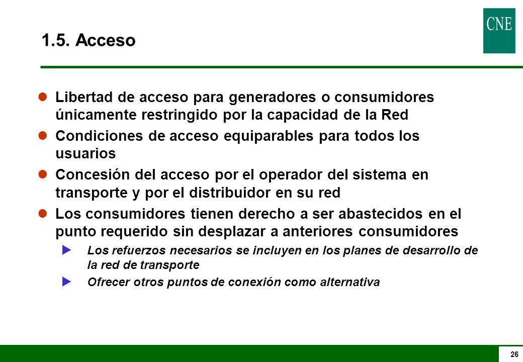 1.5. Acceso Libertad de acceso para generadores o consumidores únicamente restringido por la capacidad de la Red.