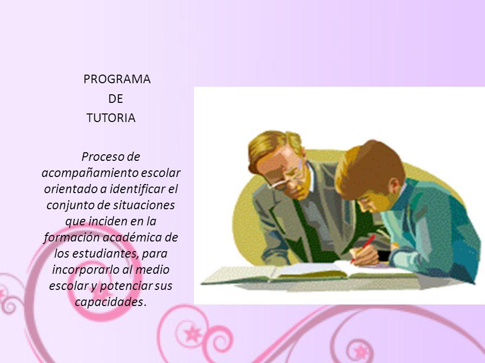 PROGRAMA DE. TUTORIA.