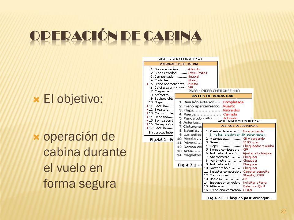 Operación de Cabina El objetivo: