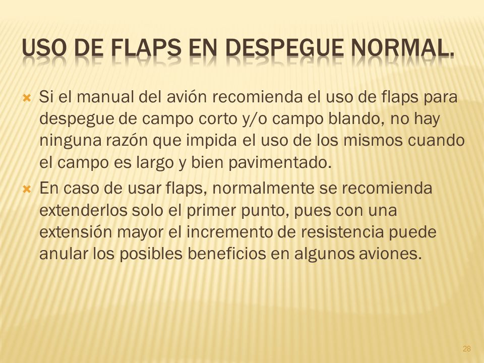 Uso de flaps en despegue normal.