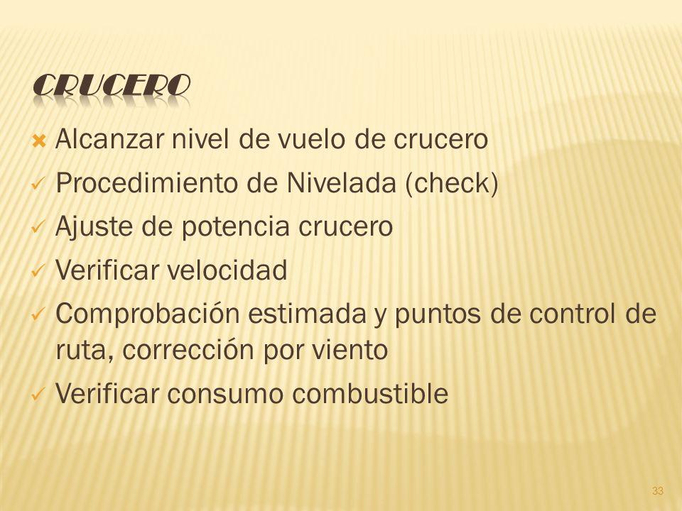 Crucero Alcanzar nivel de vuelo de crucero. Procedimiento de Nivelada (check) Ajuste de potencia crucero.
