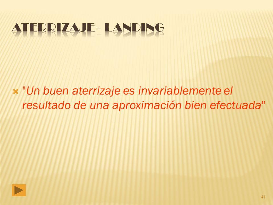 ATERRIZAJE - LANDING Un buen aterrizaje es invariablemente el resultado de una aproximación bien efectuada