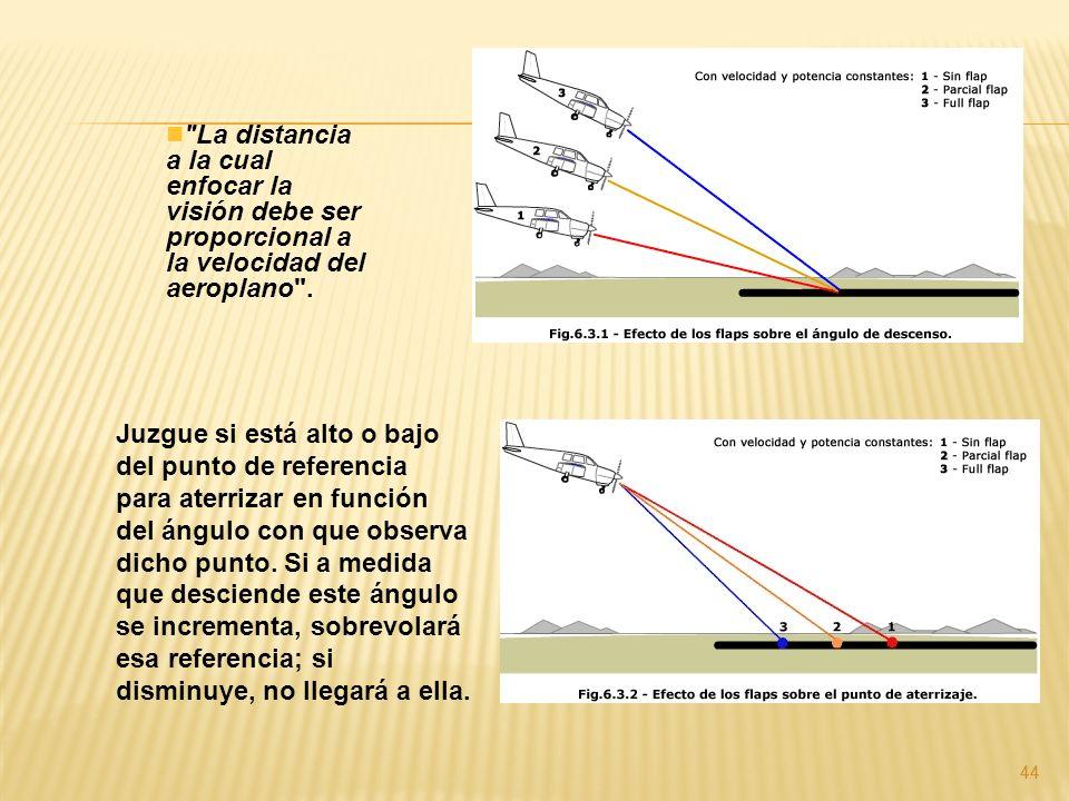 La distancia a la cual enfocar la visión debe ser proporcional a la velocidad del aeroplano .