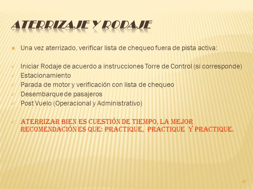 Aterrizaje y Rodaje Una vez aterrizado, verificar lista de chequeo fuera de pista activa: