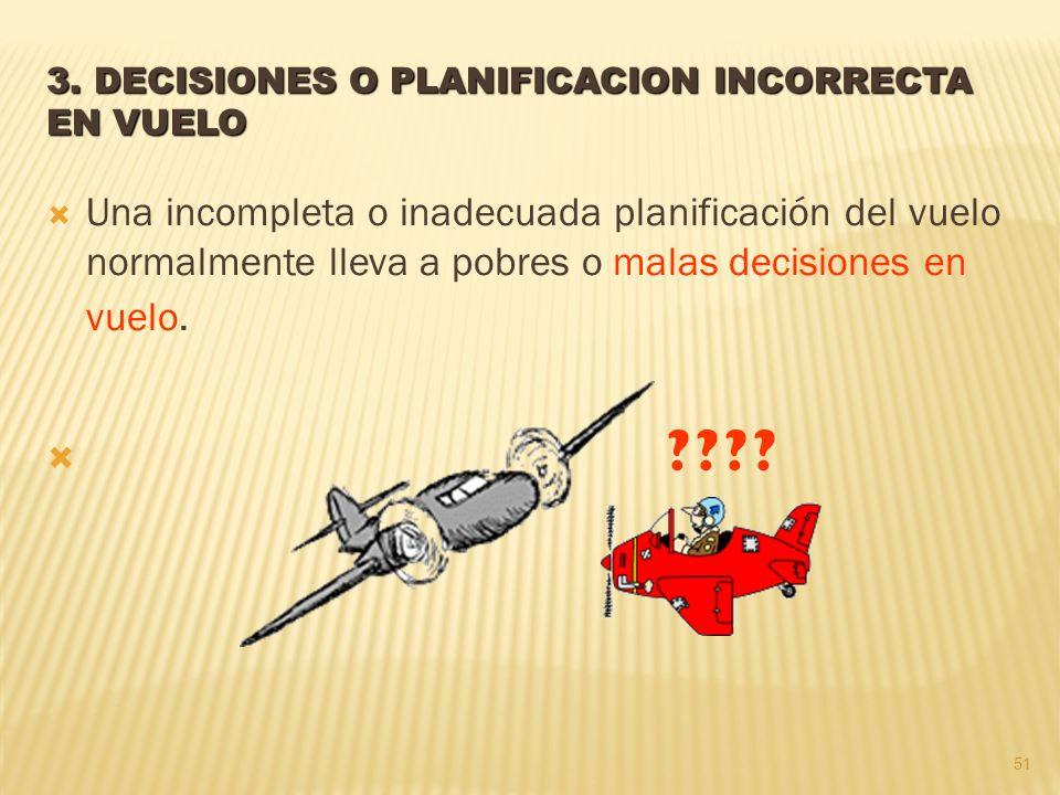 3. DECISIONES O PLANIFICACION INCORRECTA EN VUELO