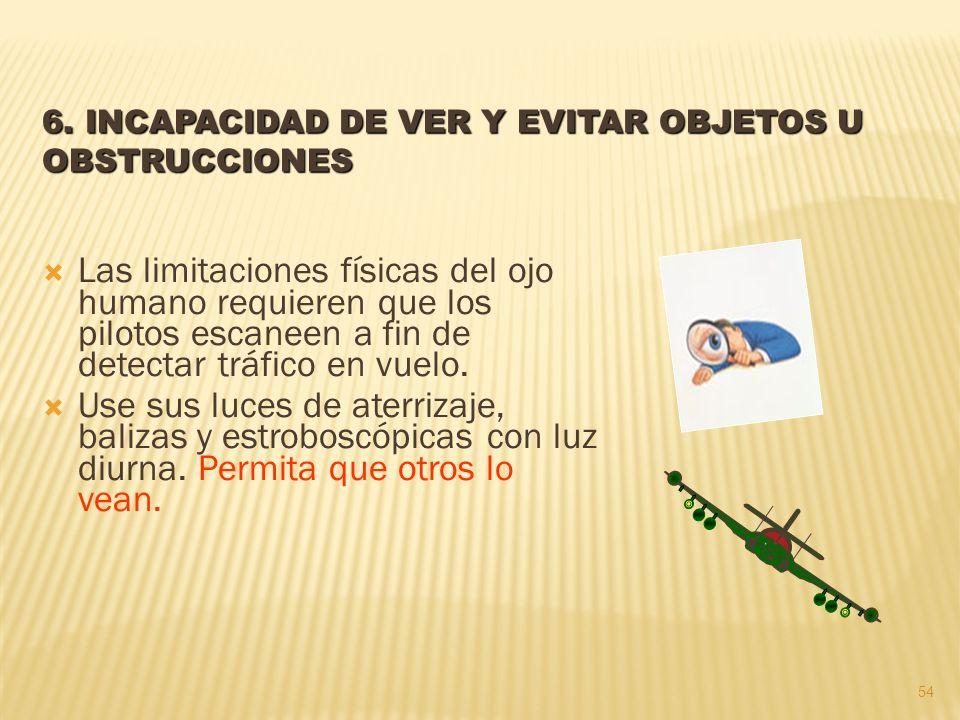 6. INCAPACIDAD DE VER Y EVITAR OBJETOS U OBSTRUCCIONES