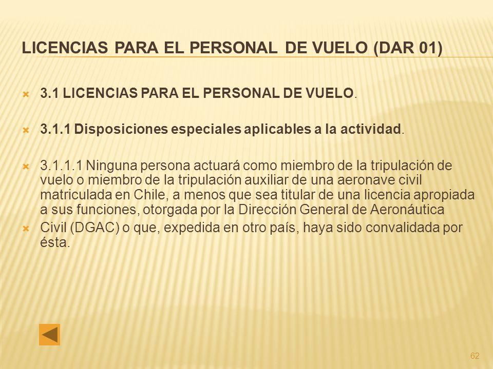 LICENCIAS PARA EL PERSONAL DE VUELO (DAR 01)