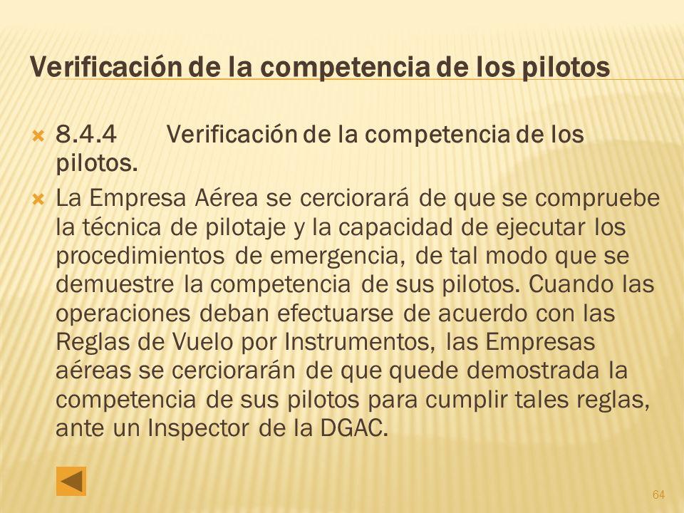 Verificación de la competencia de los pilotos