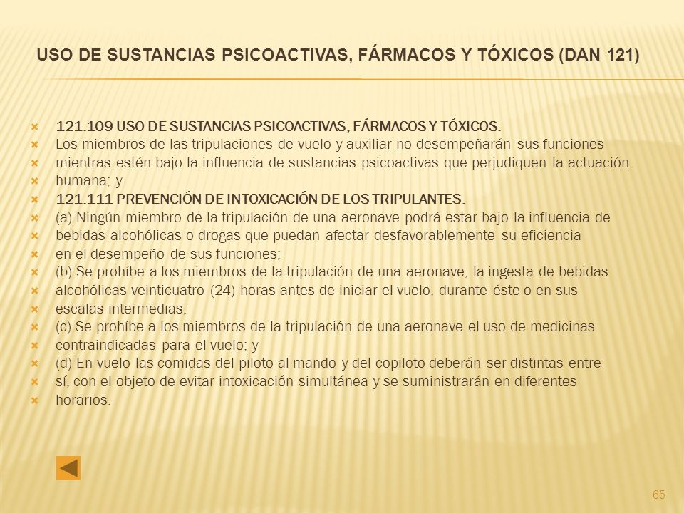 USO DE SUSTANCIAS PSICOACTIVAS, FÁRMACOS Y TÓXICOS (DAN 121)