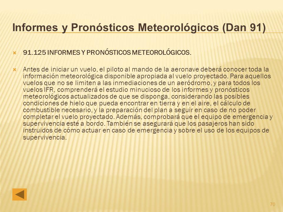 Informes y Pronósticos Meteorológicos (Dan 91)