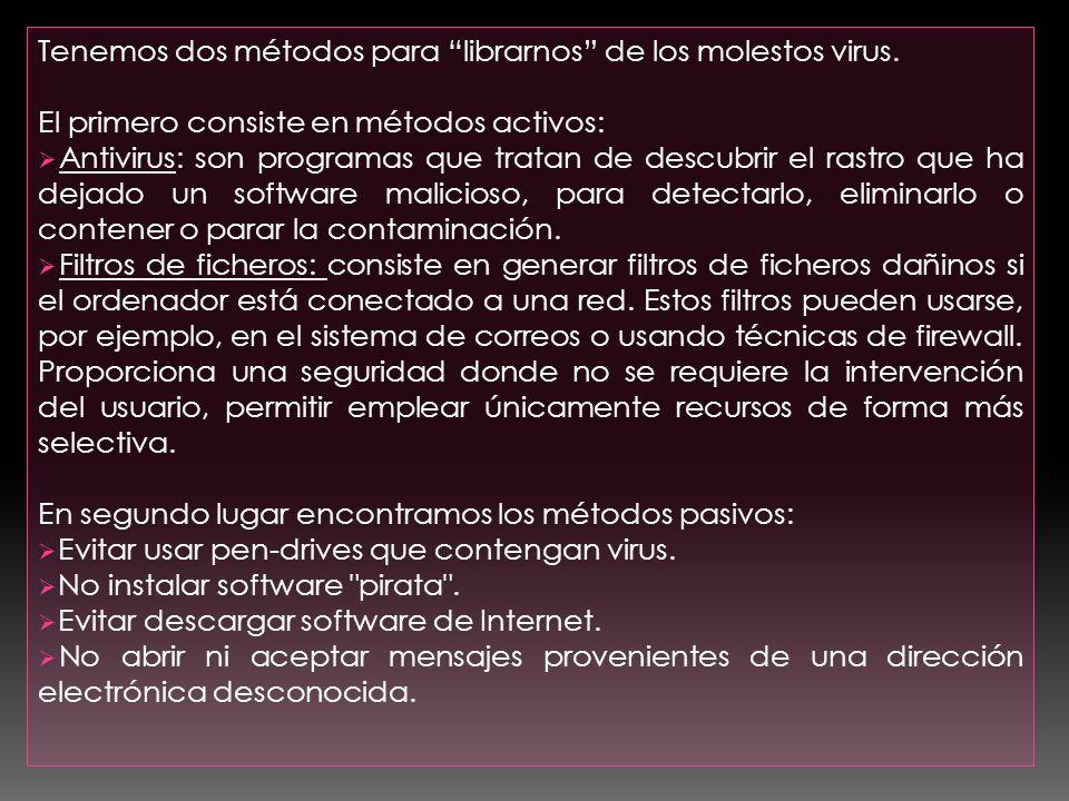Tenemos dos métodos para librarnos de los molestos virus.