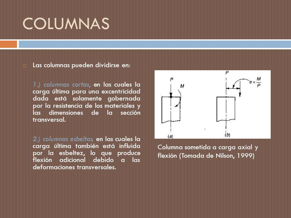 COLUMNAS Las columnas pueden dividirse en: