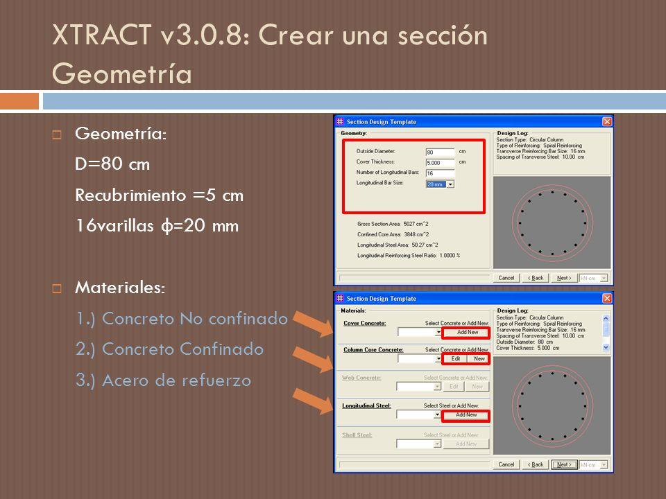 XTRACT v3.0.8: Crear una sección Geometría