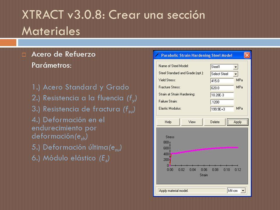 XTRACT v3.0.8: Crear una sección Materiales