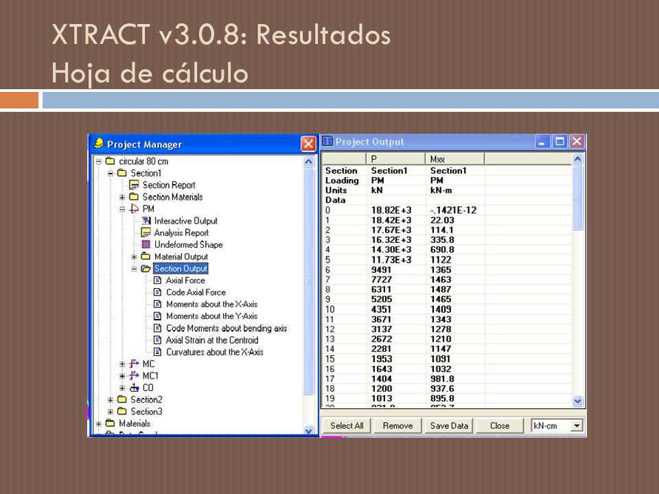 XTRACT v3.0.8: Resultados Hoja de cálculo