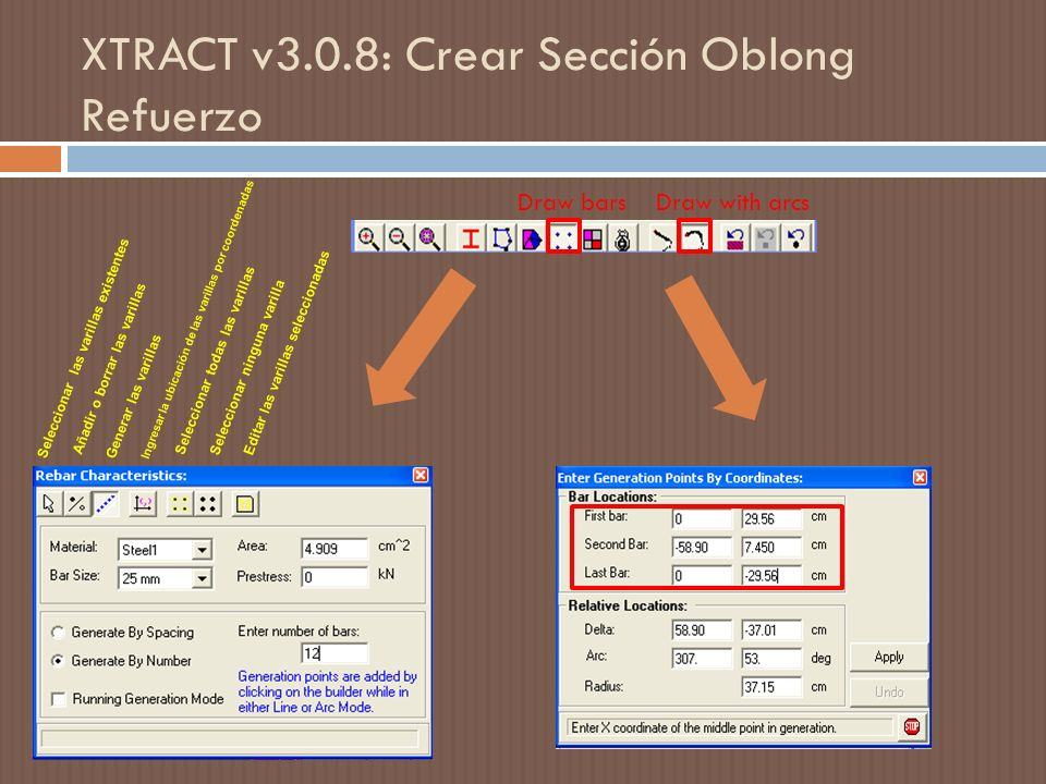 XTRACT v3.0.8: Crear Sección Oblong Refuerzo