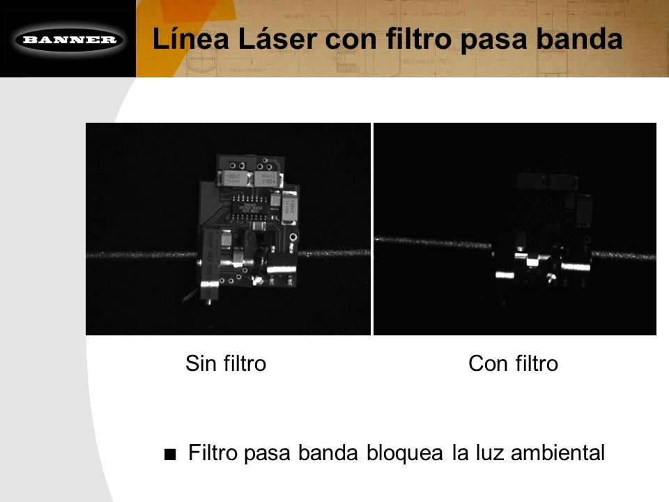 Línea Láser con filtro pasa banda