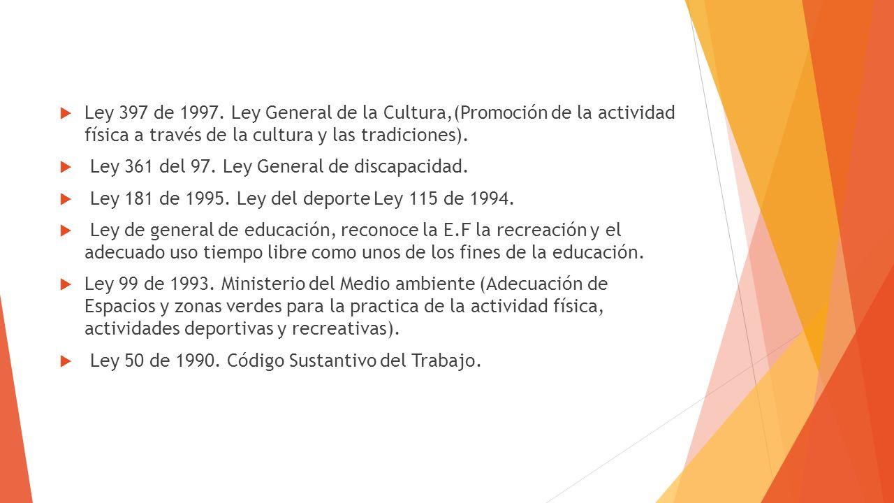 Ley 397 de 1997. Ley General de la Cultura,(Promoción de la actividad física a través de la cultura y las tradiciones).