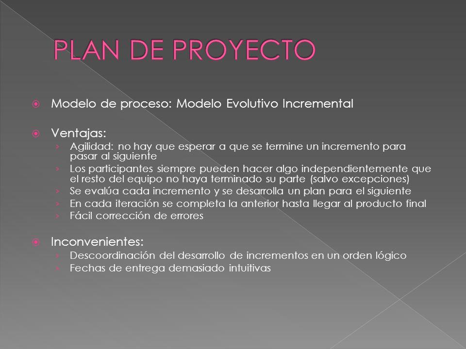 PLAN DE PROYECTO Modelo de proceso: Modelo Evolutivo Incremental