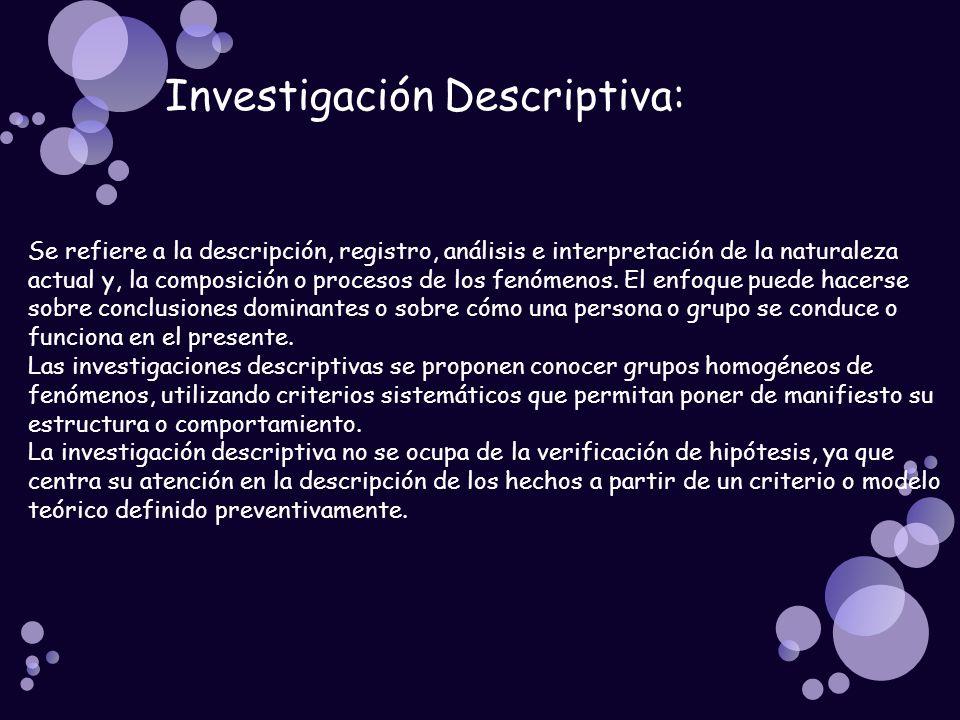 Investigación Descriptiva: