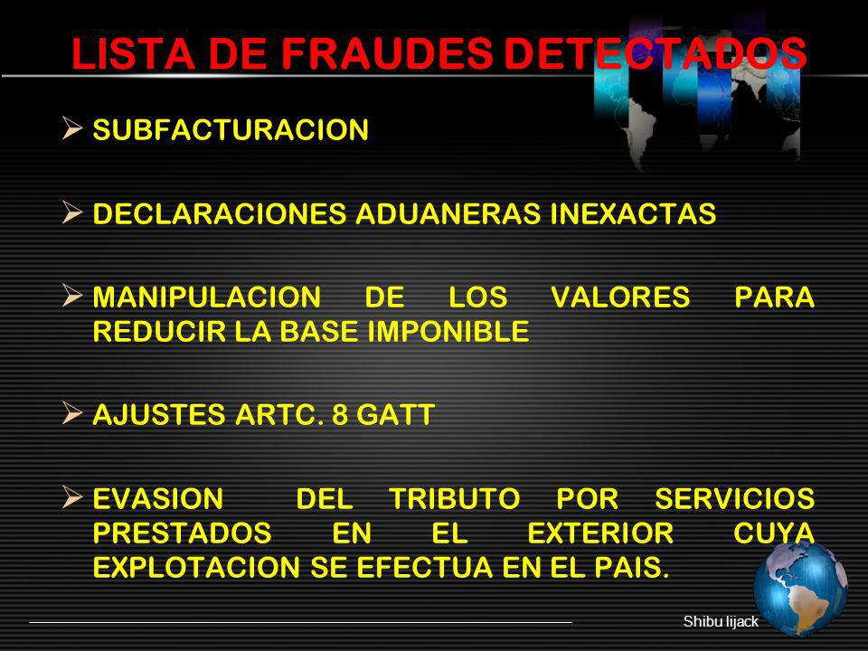 LISTA DE FRAUDES DETECTADOS
