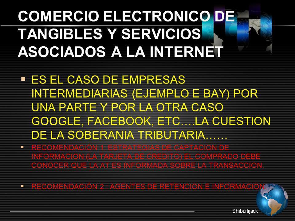 COMERCIO ELECTRONICO DE TANGIBLES Y SERVICIOS ASOCIADOS A LA INTERNET