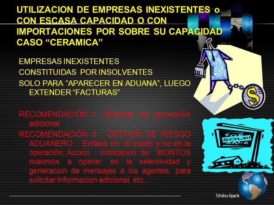 UTILIZACION DE EMPRESAS INEXISTENTES o CON ESCASA CAPACIDAD O CON IMPORTACIONES POR SOBRE SU CAPACIDAD CASO CERAMICA