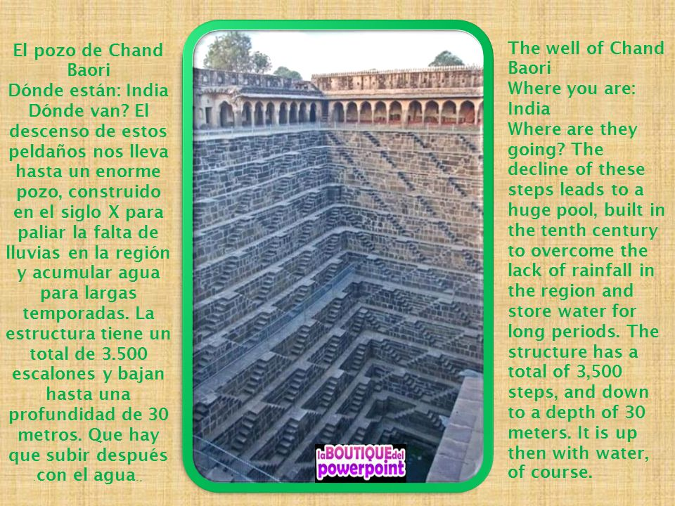 El pozo de Chand Baori Dónde están: India.