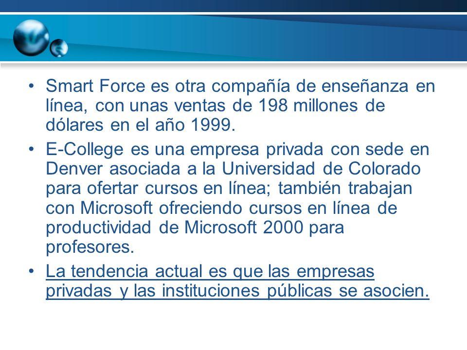 Smart Force es otra compañía de enseñanza en línea, con unas ventas de 198 millones de dólares en el año 1999.