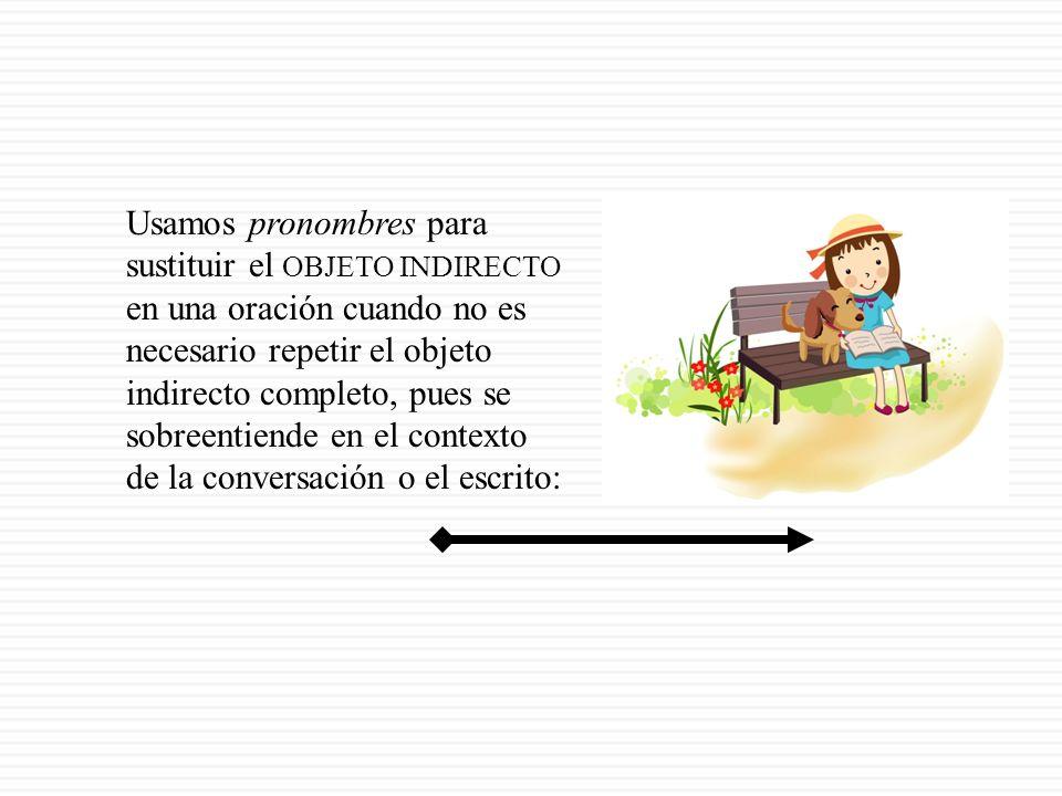 Usamos pronombres para sustituir el OBJETO INDIRECTO en una oración cuando no es necesario repetir el objeto indirecto completo, pues se sobreentiende en el contexto de la conversación o el escrito: