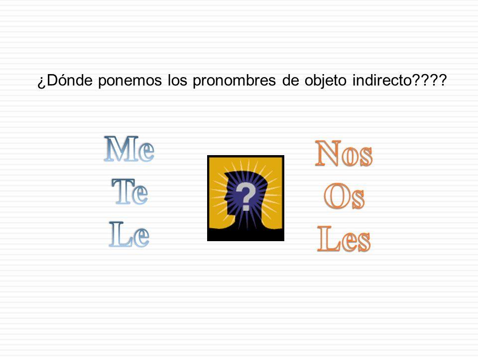 ¿Dónde ponemos los pronombres de objeto indirecto