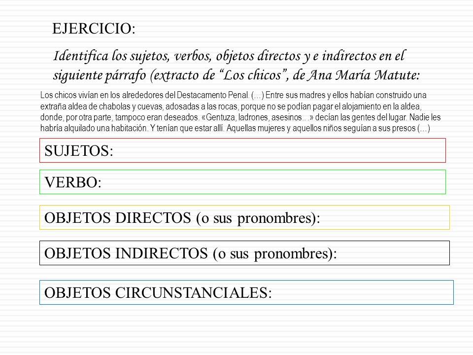 OBJETOS DIRECTOS (o sus pronombres):