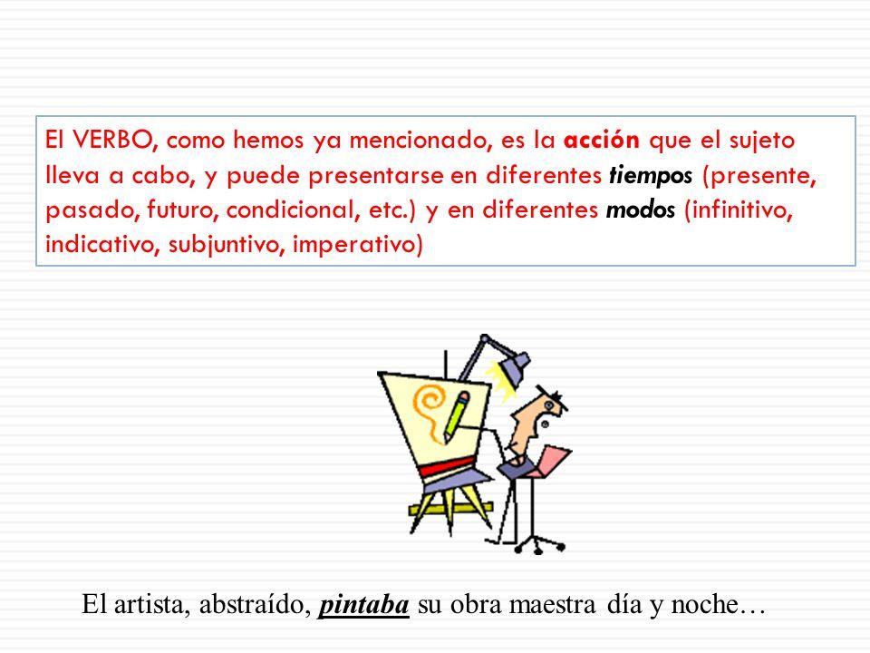 El VERBO, como hemos ya mencionado, es la acción que el sujeto lleva a cabo, y puede presentarse en diferentes tiempos (presente, pasado, futuro, condicional, etc.) y en diferentes modos (infinitivo, indicativo, subjuntivo, imperativo)