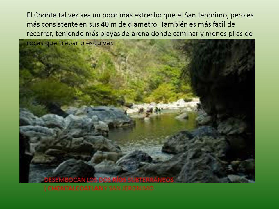 El Chonta tal vez sea un poco más estrecho que el San Jerónimo, pero es más consistente en sus 40 m de diámetro. También es más fácil de recorrer, teniendo más playas de arena donde caminar y menos pilas de rocas que trepar o esquivar.