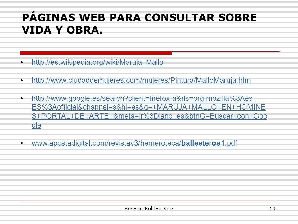 PÁGINAS WEB PARA CONSULTAR SOBRE VIDA Y OBRA.