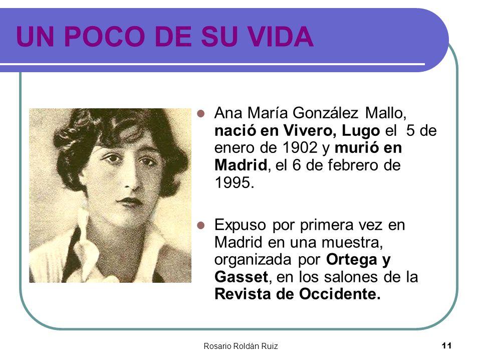 UN POCO DE SU VIDA Ana María González Mallo, nació en Vivero, Lugo el 5 de enero de 1902 y murió en Madrid, el 6 de febrero de 1995.